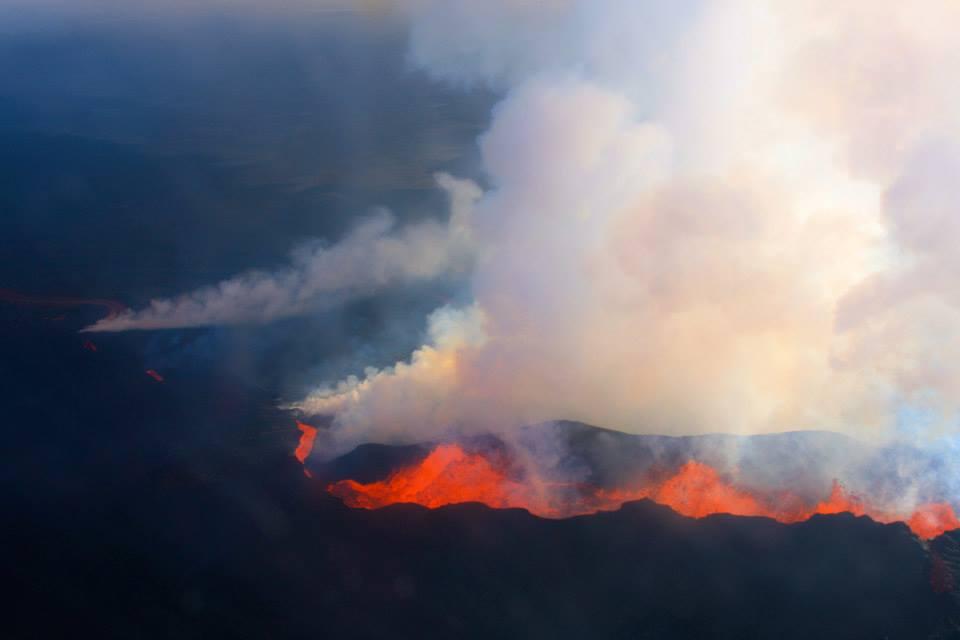 Image of erupting bardarbunga volcano
